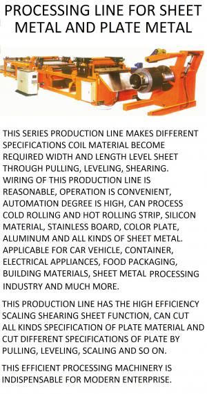 line for processing sheet metal coil and/or plate metal