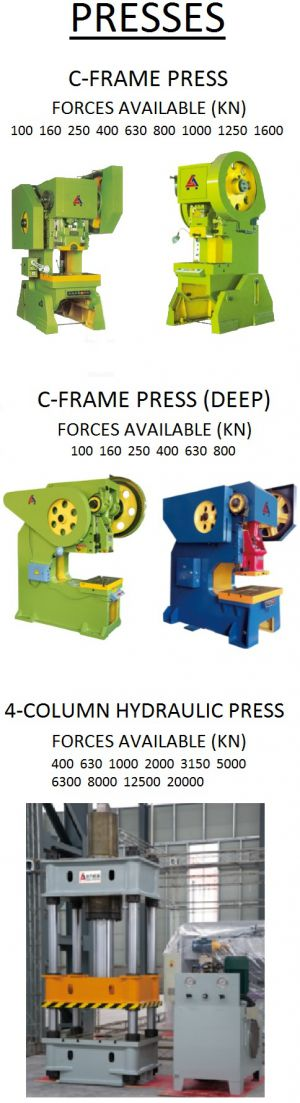 presses for sheet metal stamping and deep drawing